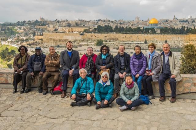 ESUMC Pilgrimage Group on the Mount of Olives overlooking the Jerusalem Old City