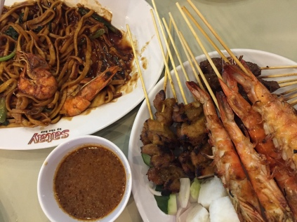 Satay with peanut sauce and fried noodles
