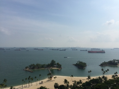 Ships near the harbor near Sentosa Island
